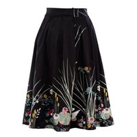 Wholesale 2017 Midi Long Skirt Women Ladies Summer High Waist Swan Floral Print Skirts Womens Saia Longa Jupe Femme faldas Woman Clothes