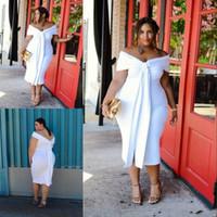 büyük seksi kızlar toptan satış-Seksi Beyaz Büyük Kız Artı Boyutu Gelinlik Omuz Kapalı Çay Uzunluğu Backless Kollu Kısa Abiye giyim Ucuz Resmi Elbise