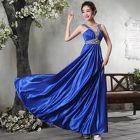 Wholesale V Neck Long Dress Grape - Burgundy Spaghetti V Neck Prom Gowns Beaded Long Bridesmaid Dress 2017 Pleated Formal Evening Dress Grape Red Blue Wedding Guest Dress