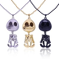 Wholesale Sweaters Skulls For Women - 4 Style Vintage Jewelry big eyes UFO Alien Skull Head Pendants Long Sweater Chain Necklaces for Women Free Shipping