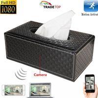 Wholesale Tissue Dvr - Wireless WIFI Tissue Box Spy Hidden Camera HD 1080P Tissue Box Pinhole Camera Home Security Camera DVR Remote Monitor Camcorder