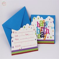 Grossiste- 6Sets / Lots Happy Birthday Theme Cartes d'invitation pour les enfants Birthday Party Decoration Party Supplies Baby Shower Kids Favor