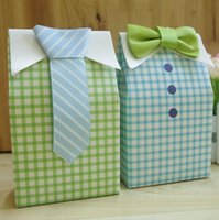Wholesale Chinese Ties For Men - 2017 New Fresh Wedding Candy Boxes Little Man Bow Tie Candy Box Necktie Gift Box Bags for Birthday Party Baby Shower Favor Holders
