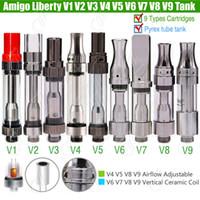 Wholesale V5 Pens - 100%Original Amigo Liberty V1 2 V3 V4 V5 V6 V7 V8 V9 Tank Cartridges 510 Thick Oil O pen BUD CO2 Vaporizer Airflow Ceramic Coil Atomizers