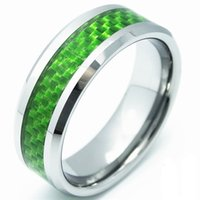 Wholesale Tungsten Green Inlay - Shardon 8mm width tungsten carbide rings with green carbon fiber inlay hot sale have in stock