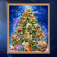Wholesale Canvas Mosaic - YGS-379 DIY Partial 5D Diamond Embroide The christmas trees Round Diamond Painting Cross Stitch Kits Diamond Mosaic Home Decor