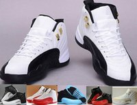 Wholesale Men Mid Top Boots - Cheap Top Quality Retro 12 XII 12s Man Basketball Shoes ovo white TAXI Flu Game French Blue Gamma Blue Playoff Sneaker Boots 6-8-9-10-11-13