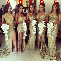 Wholesale Royal Style Wedding Dresses - Sparkly Gold Mermaid Bridesmaid Dresses Sequins Backless Plus Size Maid Of The Honor Gowns Wedding Dress 5 Styles