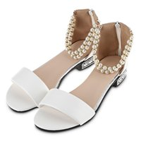 Wholesale String Zip - Stylish Pure Color Pearl String Strap Lolita Ladies Flat Sandals Women Beach Sandals String Bead Pearl Ankle Strap Candy Flip Flops Shoes+B
