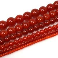 cuentas rojas para collar al por mayor-Granos de ágata roja 4/6/8/10/12 / 20mm granos de piedra naturales redondos granos de Cornalina roja para la fabricación de joyas collar de pulsera de bricolaje