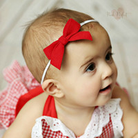 Wholesale Cow Headband - 12 Colors Baby Headbands Bows Kids Girls cow leather Bow Headbands Infant Elastic Bowknot Hairbands Children Hair Accessories KHA150