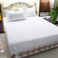 Wholesale White Cotton Sheets Wholesale - 120*200Cm Hotel Bed Sheets 100% Cotton Strips Hotel Room Supplies Pure White Soft Comfort Quality Bedding Sheets