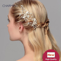 Wholesale Unique Cheap Plates - tiara hair unique hair accessories bridal tiaras crystals pearls wedding tiaras cheap wedding flower hair vines