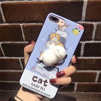 Wholesale Wholesale Sleeping Kitty - 3D Cute Squishy Cat Embossed Cases Soft Silicone Fidget Case Squeeze Stress Relieve Sleeping Kitty Cat Cradle Cover For iphone 7 7 plus 6s