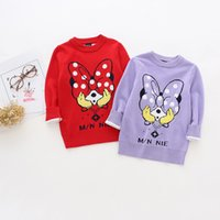 Wholesale Sweater Minnie - Girls clothing Knit Pullover Sweaters Jumper Cartoon Minnie Knitwear 2017 Autumn Winter Red purple