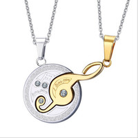 Wholesale Couple Music Pendant - Music Design Couples Necklace Pendant for Lovers Stainless Steel Black & Gold Plated Valentine's Day gift CN-007
