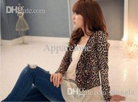 Wholesale Double Breasted Shrug Jacket - Wholesale-Women sexy attractive leopard print double breast shrug jacket top brown