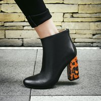Wholesale Leopard Chunky Heels - 2017 winter new style fashion genuine leather Leopard high heels women square toe chunky heel ankle boots shoes for woman 34-42