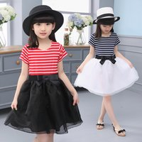 Wholesale Summer Girls Gauze Princess - 2 kinds of colors in the summer hot selling girls princess skirt North Korean version of butterfly stripe gauze gauze 5 to 12T