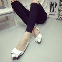 Wholesale Comfortable Dress Shoes Women - Fashion Women's Dress Shoes Comfortable Low Heel shoes Sweet bowknot Women Shoes Patent Leather Pointed Toes Ballet Flats