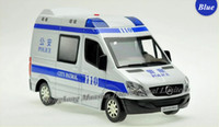 Wholesale Model Toy Police Lights - 1:32 Scale Alloy Diecast Police Car Model For Sprinter Collection RV Model Pull Back Toys Car With Sound&Light - Blue