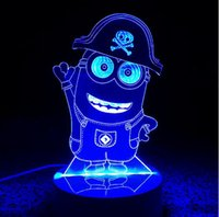 Wholesale Wholesale Minion Lamps - Change colour Minions Colorful 3D light Furnishing creative lamp decorations