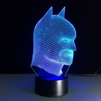 Wholesale Lamparas Diy - remote Batman colorful 3D Lights Children's nightlight Visual Led Night Lights Illusion Mood Lamp Lamparas 3D