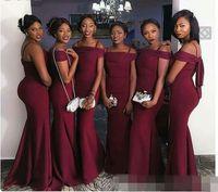 Wholesale Stretch Bridesmaid Dresses - Custom Sheath Black Girl Stretch Satin Cheap 2017 Bridesmaid Dresses Sexy long Sleeve Cheap Evening Dresses for Wedding Party Wear 2018