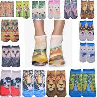 Wholesale Character Socks - Hot 3D Printed Skeleton Socks Cute Animal Cat Carton Character Dollar Bill Skull Foot Funny Socks Women