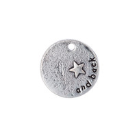 Wholesale Message Back - New Hot Fashion Zinc Alloy Silver Plated Single Side Message and Back Round Charm For DIY Jewelry