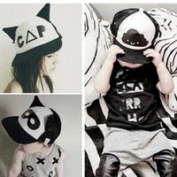 Wholesale Toddlers Girls Baseball Hat - Fashion Toddler Baby Black and White Baseball Hip hop Cap Cute Ear Summer Mesh Sun Hat Child Boys and Girls Flat Caps A6594