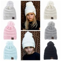 Wholesale Handmade Crochet Beanie - 2017 kids winter hat baby hats caps wool knitted hats boys girls beanie hat pom pom hat children handmade crochet baby bonnets top wholesale