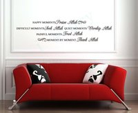 Wholesale Decor Walls Islamic - Islamic wall decals Muslim Happy Moments Quote Wall Art Vinyl Decor English Sticker Free shipping