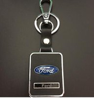Wholesale Ford Parts Accessories - 1pcs Car Keychain Leather Keyrings Key Hold Emblems Auto Parts accessories for Chevy ford suzuki mitsubishi buick