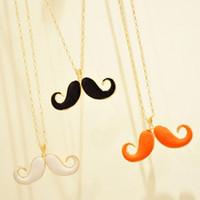 Wholesale Moustache Necklace Long - Avanti concave shape beard necklace wild long necklace sweater chain Moustache pendant necklace Wholesale Free Shipping