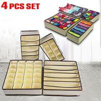 kits de placard achat en gros de-Boîte de rangement pliable soutien-gorge sous-vêtements kit organisateur tiroir diviseur tiroir ensemble de 4