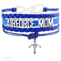 Wholesale Air Force Wife - Infinity Love United States Air Force Mom Wife Airplane Charm Bracelets For Women Men Blue Gold Silver Wrap Bracelet Jewelry