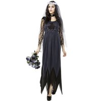 Halloween Corpse Bride Cosplay Lace Dress Ghost Bride Costume para Mulheres Scary Clothing RF0136