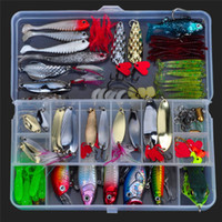 Wholesale Soft Worms - ALLBLUE Fishing Lure Kit Metal Lure Soft Bait Plastic Lure Wobbler Frog Lures Fish Baits Set Hard Baits Crankbaits Fishing Lures