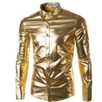 Wholesale Shiny Black Coats - Mens Night Club Coated Metallic Gold Silver Button Down Shirts Stylish Shiny Long Sleeves Dress Shirts For Men Slim Fit Shirt