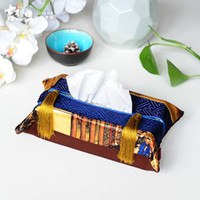 Wholesale Chinese Tissue Box - Wholesale- Luckome Chinese Style Tissue Holder for Car Fabric Satin Tissue Box Case Hot Sale Tissue Box Cover napkin holder caixa cover