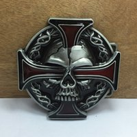 Wholesale wholesale pewter crosses - BuckleHome red cross belt buckle skull belt buckle with pewter finish FP-03164-1 with continous stock free shipping