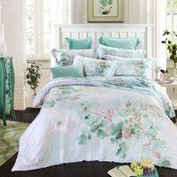 Wholesale Aqua Print Comforter - Tencel super soft bedding sets queen king size bedclothes reactive print bedcover summer duvet cover set Aqua green