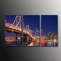 Wholesale Golden Gate Bridge Painting - Custom Canvas Prints 3 Panel Wall Art Painting California Golden Gate Bridge Modern City Architecture Modular Pictures