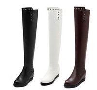 Wholesale Sexy Girls Western - New Arrival Hot Sale Specials Influx Sweet Girl Sexy Spike Retro Leather Rivets Punk Increased Elastic Stovepipe Wedge Knee Boots EU34-43