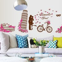 Wholesale Travel Wall Art Diy - 60*90cm Wall Stickers DIY Art Decal Removeable Wallpaper Mural Sticker MJ8005 Leaning Tower of Pisa Romantic Travel