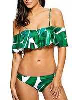 Wholesale Flounce Ruffle Bikini - Women's Strappy Ruffles Off Shoulder Swimsuit Crop Top Floral Flounce Bikini Set