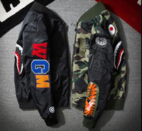Wholesale Force Baseball - Off White Jacket Men WGM Embroidery Shark MA1 Air Force Flight Jacket Male Baseball Service US Air Force Pilot Jacket