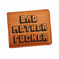 Wholesale F Cards - Wholesale- New Design BMF Wallet Embroidery Logo Bad Mother F*cker Purse With Credit Card Holder Men's Wallets Free Dropshipping