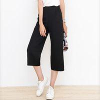 Wholesale Women S Breeches - 2017 Breeches Pants for Women Wide Leg Trousers Harem Pants Loose capri pants women Slim fit Black Elastic High Waist Plus Size